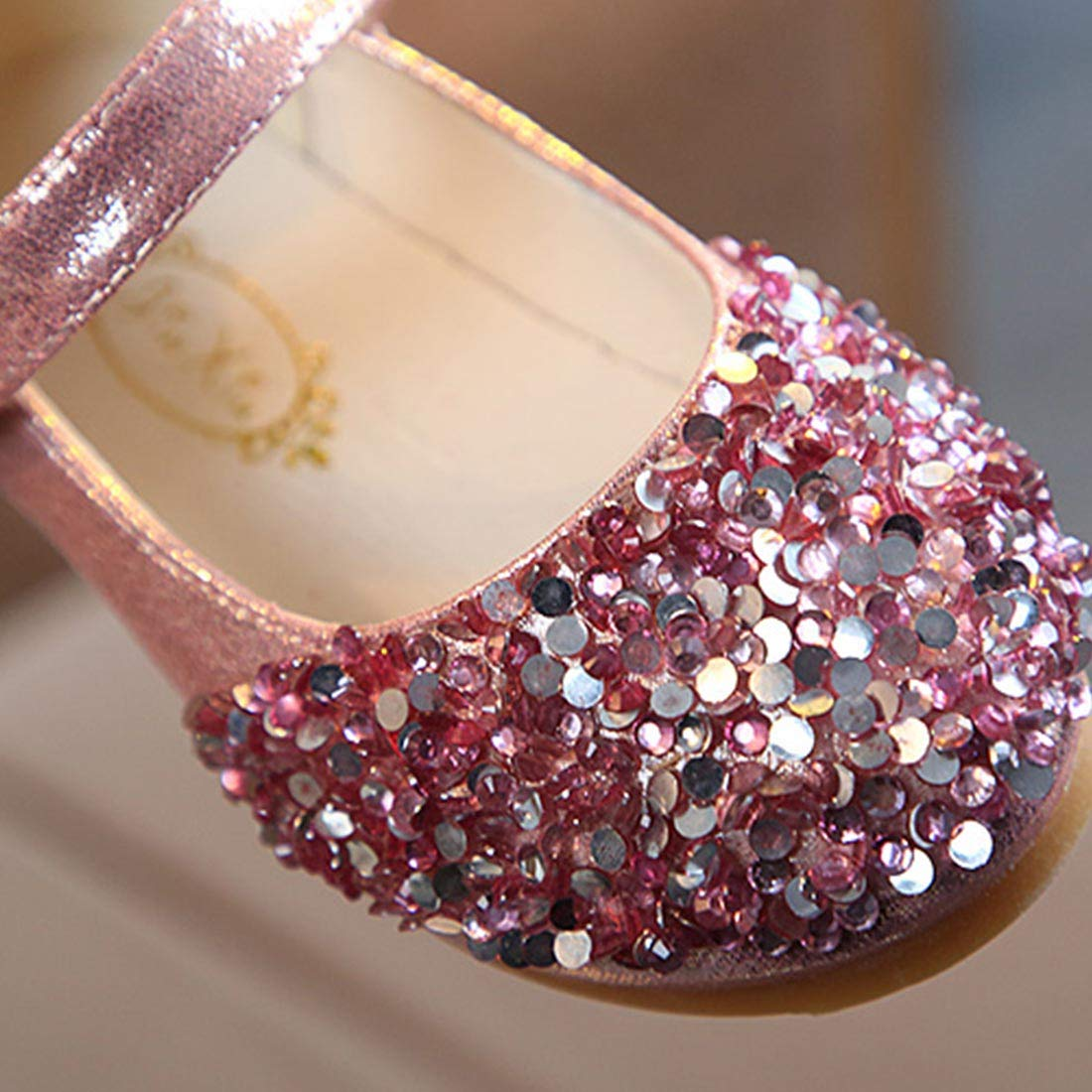 YIBLBOX Sequin Toddler Girls Mary Jane Ballerina Flat Kids Dress Shoes for Formal Wedding Party