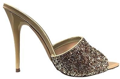 61e5791fc Amazon.com | Shoe Republic Oregon Open Pointed Toe Satin Glitter Bids  Stiletto High Heel Slip On Sandals Pumps Mules Gold | Shoes