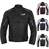 Textile Motorcycle Jacket For Men Dualsport Enduro Motorbike Biker Riding Jacket Breathable CE ARMORED WATERPROOF (Black…