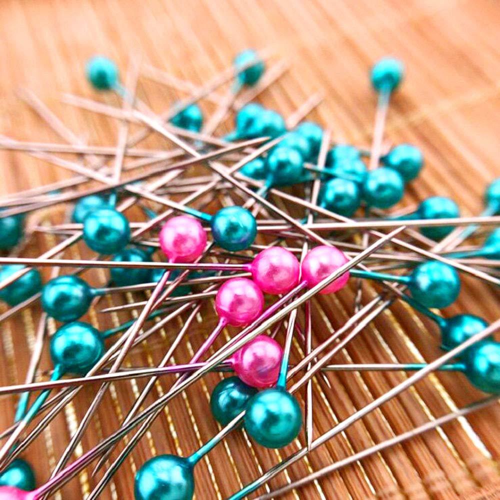 Decoraci/ón de Flores Keleily Alfileres Cabeza Redonda 800Pcs Alfileres de Costura Coloridos Alfileres Decorativos para la Fabricaci/ón de Joyas 4CM Pulsera de Aretes 8 Colores