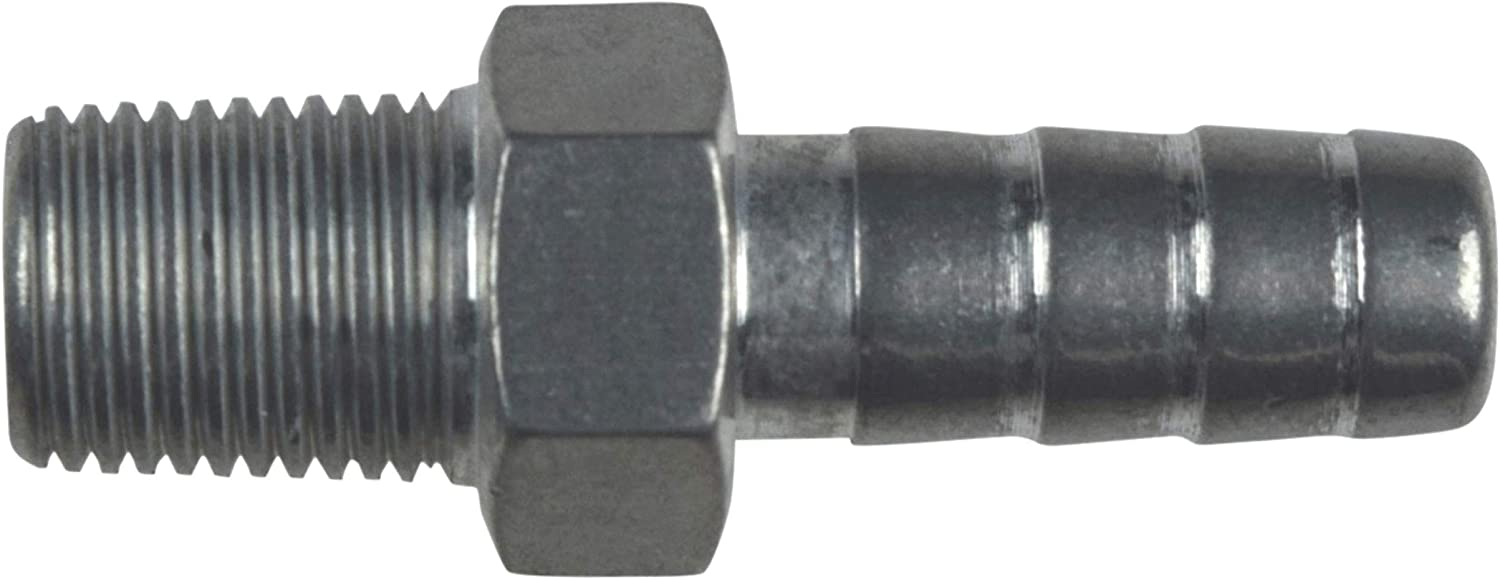 """ICT Billet Straight 1/8"""" NPT Pipe to 5/16"""" .3125"""" Hose Barb Fitting Bare Aluminum AN840-05-02A"""