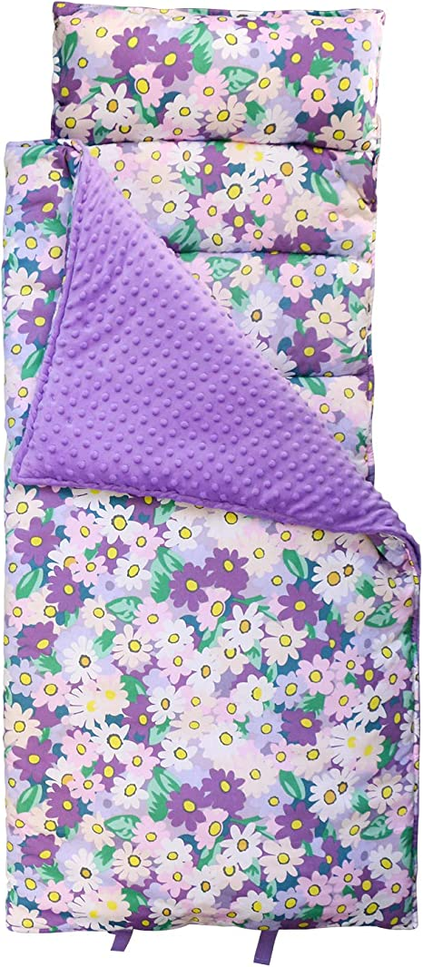 Hi Sprout Kids Toddler Lightweight and Soft Nap Mat with Pillow Sleeping Bag for Preschool and Daycare Minky Dot/& Cotton Lemon