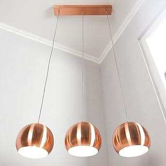 Globe 3er Set Lustre Industrie Lampe Plafonnier éclairage cuivre a 20 cm Ø Cagü