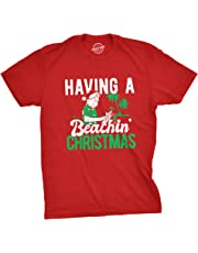Mens Having A Beachin Christmas Tshirt Funny Santa Claus Cocktail Tee