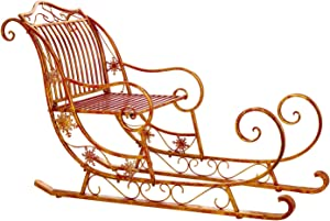 Evergreen Garden Beautiful Decorative Seasonal Red and Gold Metal Santa's Sled Garden Statue - 59 x 24 x 34 Inches Fade and Weather Resistant Indoor/Outdoor Decoration for Homes, Yards and Gardens
