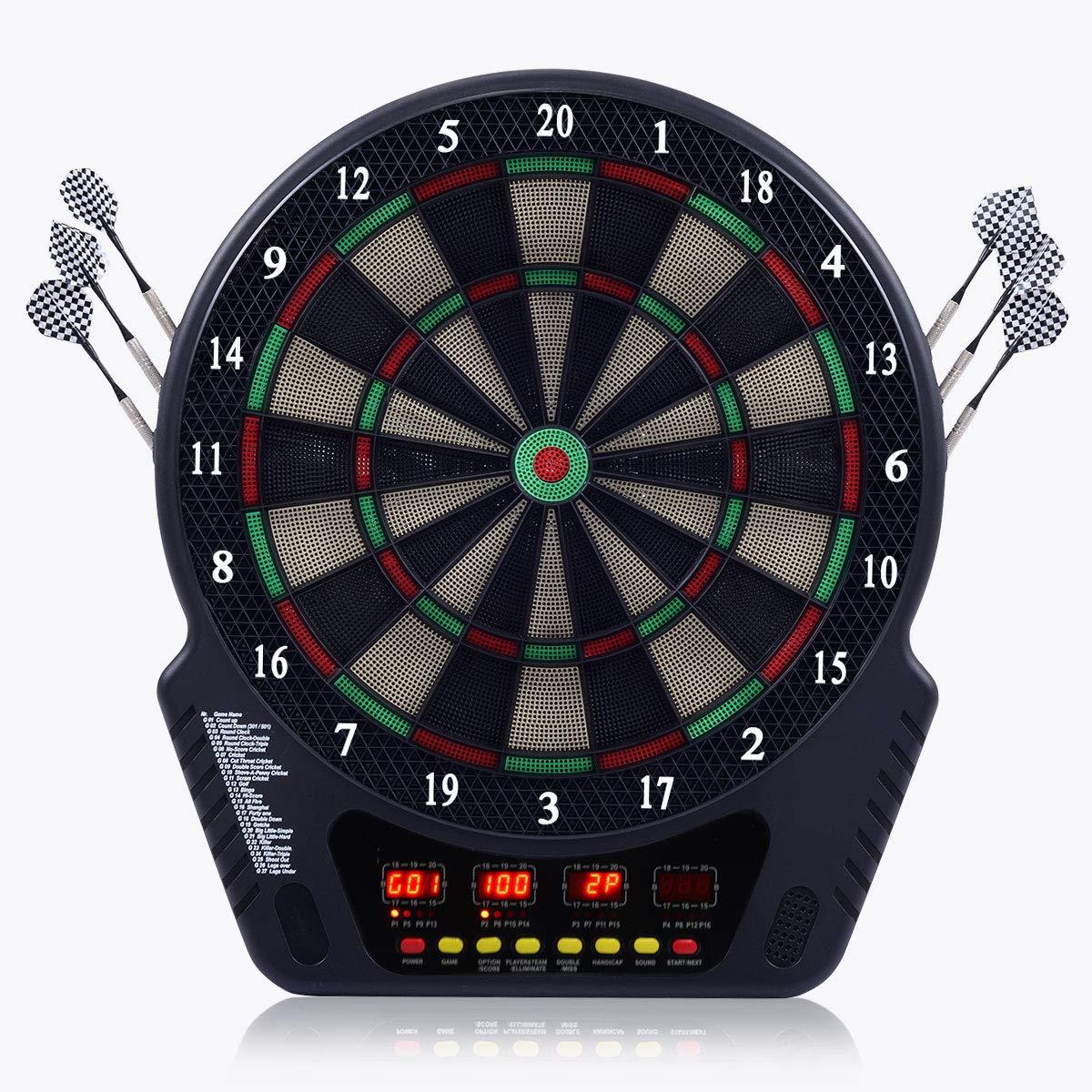 COSTWAY Elektronische Dartautomat Dartscheibe Dartboard LCD Dartspiel Dartpfeil 6 Pfeile