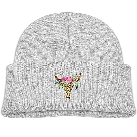Amazon.com  Kocvbng I Beanie Cap Cow Leopard Bull Skull Soft Knit ... 40faceecca5