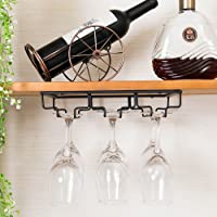 E Support Under Cabinet Stemware Rack Metal Wall Hanging Wine Bottle Glasses Holder Hanger Drying Rack for Bar or Kitchen Single Rail with Screws