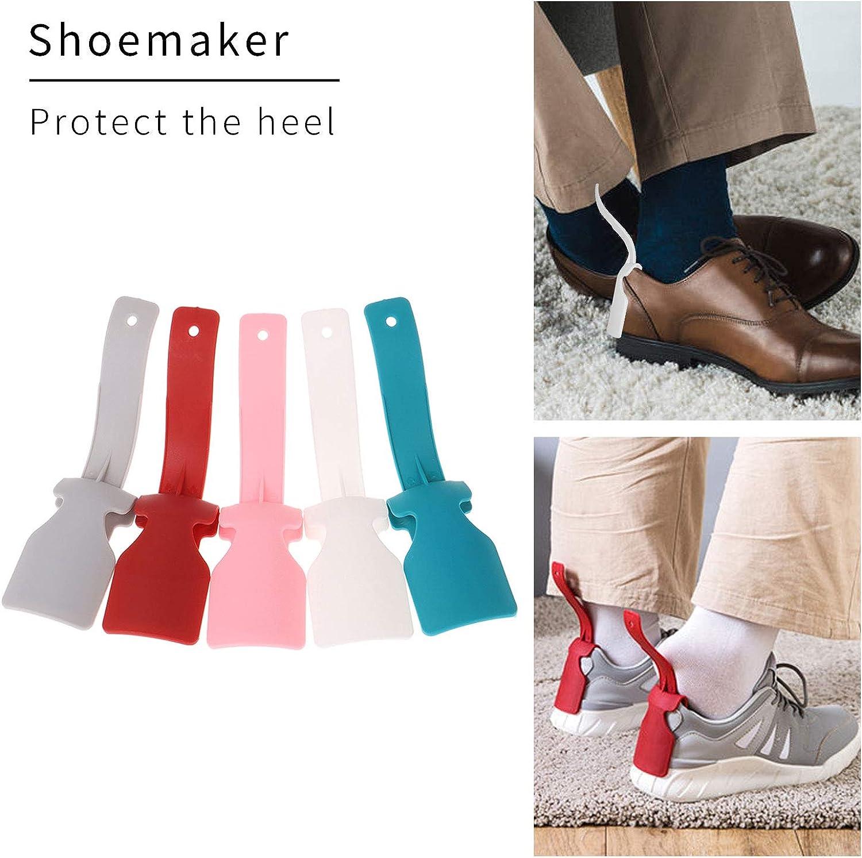BEIFON 5 Paire Chausse /à Pied Plastique Corne de Chaussure Unisexe Aide Chaussures Paresseux Color/é Lazy Shoe Helper Portable avec Poign/ée pour Homme Femme Pieds de Toutes Les Tailles