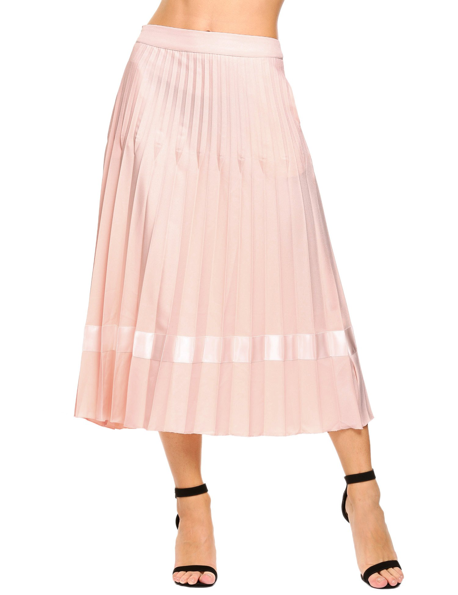 Angvns Women's High Waist Pleated A Line Midi Long Skirt with Pockets