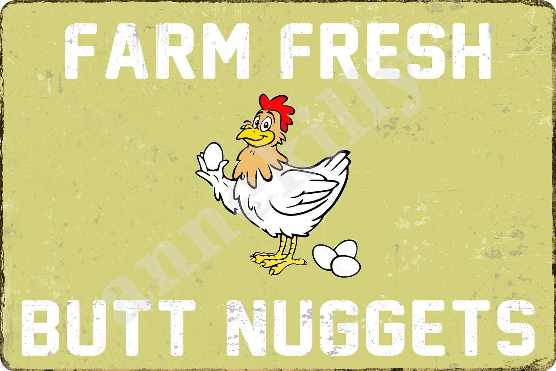 Retro Vintage Farm Fresh Butt Nuggets Chicken Egg Sale Market Metal Tin Sign for Home Bar Kitchen Living Room Wall Art Decor 12x8inch
