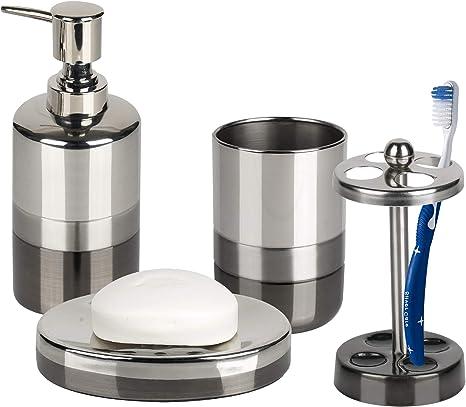 Amazon Com Nu Steel Triune Set 4 Soap Dish Tbh Tumbler Lotion Pump 4 Bath Ensembles 4 Piece Home Kitchen