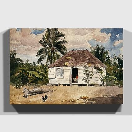 Big Box Art Caja Grande Lienzo de Arte casetas de Winslow Homer Native, Nassau,