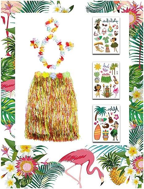U&X 5 Piezas Hawaiana Hula Hierba Falda Flor Leis Collar Pulseras ...
