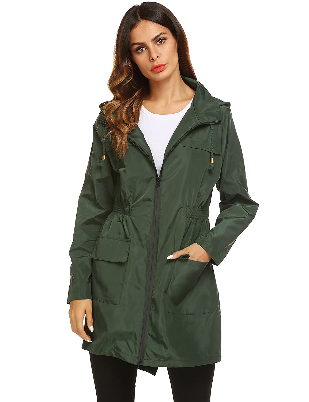 53d4bbb9e Amazon.com: LOMON Women Waterproof Lightweight Rain Jacket Active Outdoor  Hooded Raincoat: Clothing