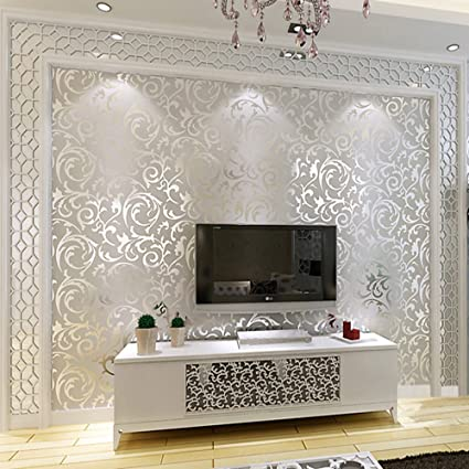 Home Art Decor Luxury Silver 10m 3d Victorian Damask Embossed