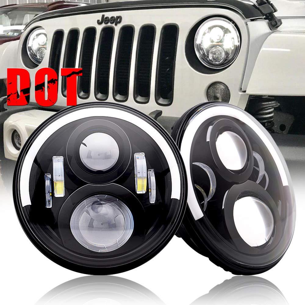 "Amazon.com: AUSI 7"" DOT Approved Projector Round Led Headlights with Half  Halo DRL Combo Beam fits for Jeep Wrangler FJ JKU JK TJ LJ CJ Unlimited  Sahara ..."