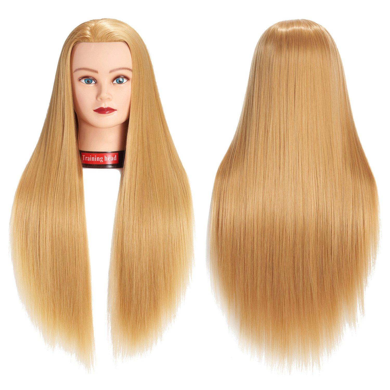 Cabeza para entrenamiento de peluquería pelo largo + soporte