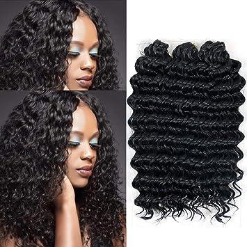 Amazon Com Deep Wave Crochet Braid Hair Extension Deep Twist Synthetic Kanekalon Braiding Hair Ombre Short Hairstyles Crochet Braiding Hair 1b 3piece Beauty