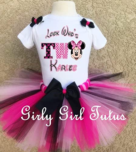 2707ce5f7 Amazon.com: Minnie Mouse Girls 2nd birthday Outfit Tutu Set: Handmade