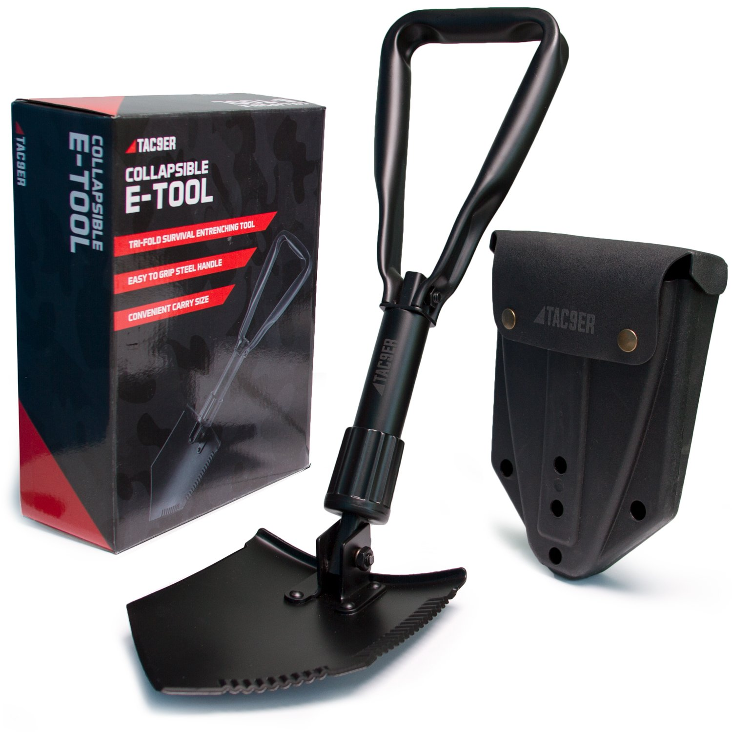 Tac9er Collapsible E-Tool Shovel - Portable, Metal, Folding, Tactical Military Shovel with Serrated Steel Blade and Carrying Case for Camping, Backpacking, Gardening, and Survival