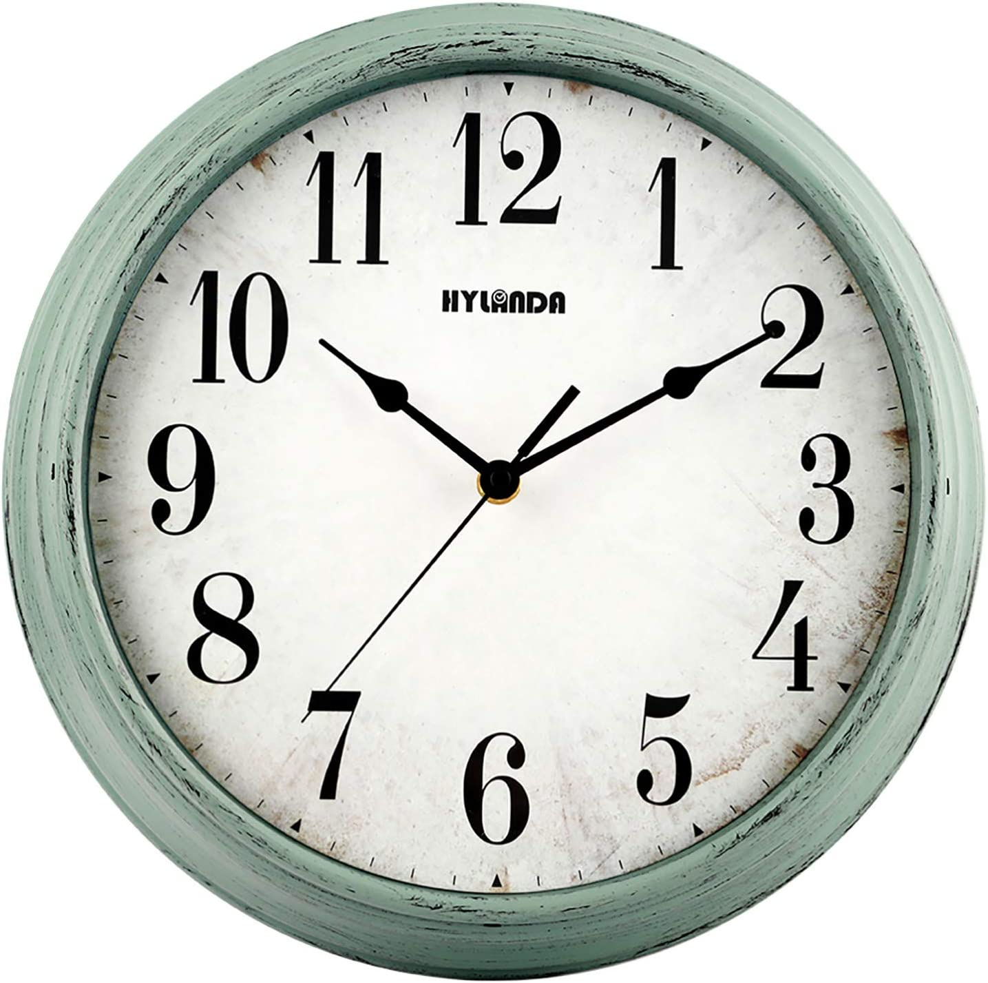 HYLANDA Wall Clock Silent Non Ticking, 12 Inch Vintage Retro Wall Clocks Battery Operated Decorative Easy to Read Kitchen Home Living Room Office Bathroom(Aqua)
