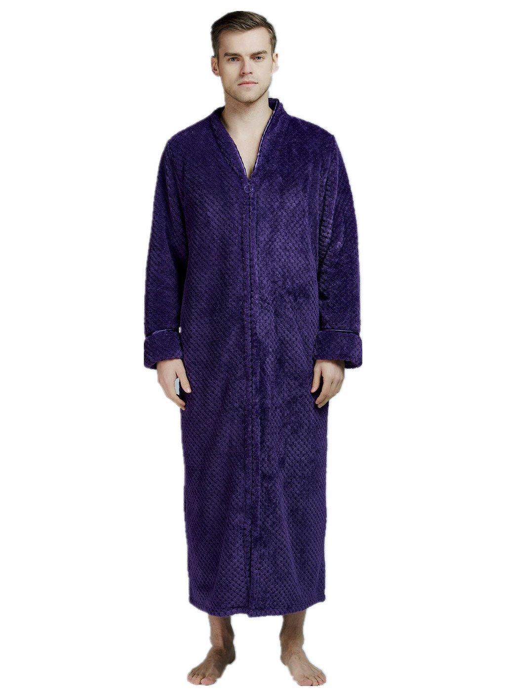 VERNASSA Mens Fleece Robe, Soft Zip-Front Bathrobe Full Length Long Sleeve Sleepwear Spa Bathrobe