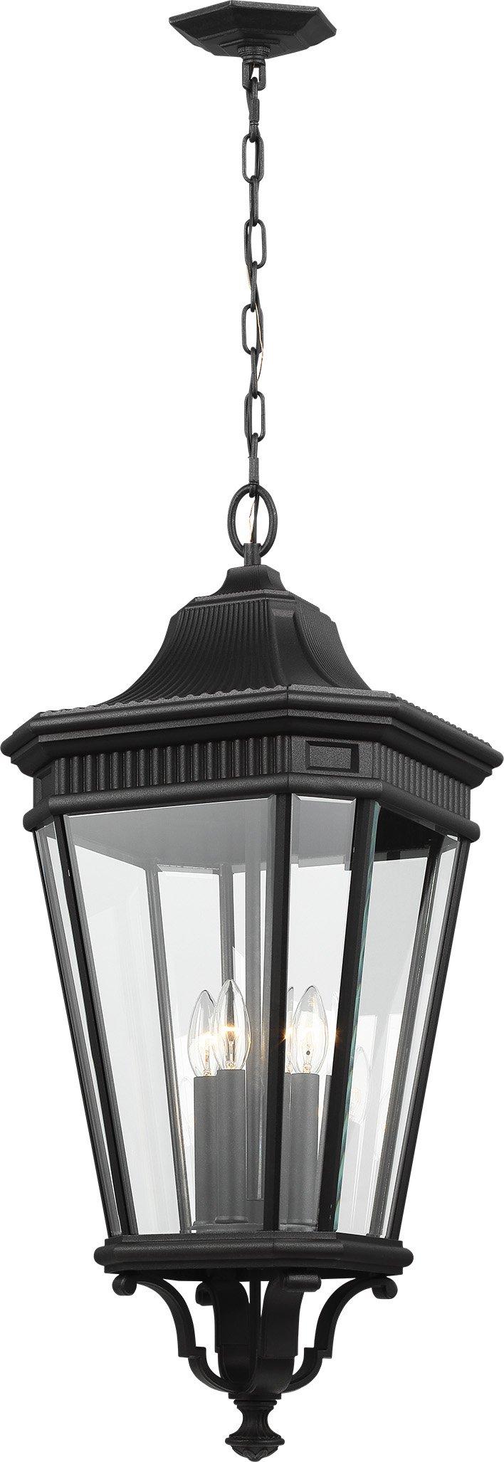 Feiss OL5414BK Cotswold Lane Outdoor Lighting Pendant Lantern, Black, 4-Light (14''W x 31''H) 240watts