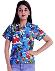 Virgin Crafts Christmas Vacation Hawaiian Shirts Womens Front-Pocket Ladies Blouse Santa Kid