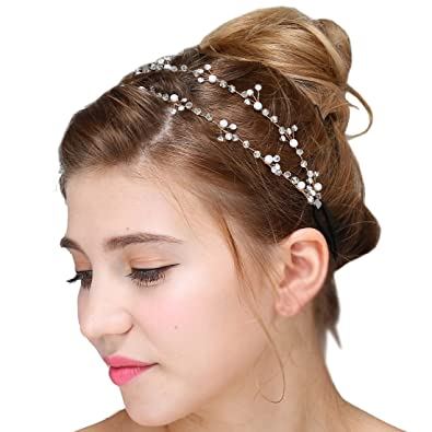 Vintage Bridal Tiara Crystal Rhinestone Pearl Headband Wedding Prom Hair  Accessories 008da1bc5c0