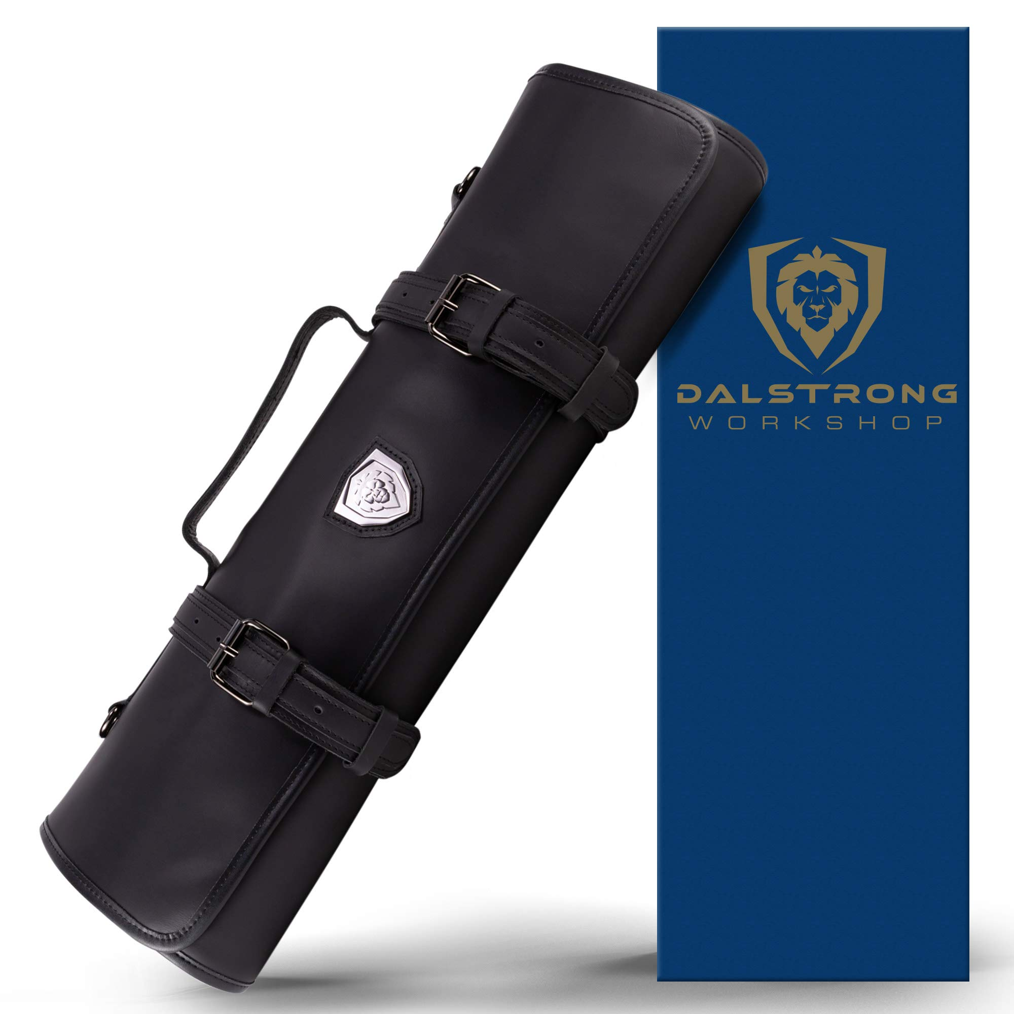 Dalstrong - Vagabond Professional Knife Roll Full & Top Grain Brazilian Leather Roll Bag - Midnight Black - 16 Slots - Interior and Rear Zippered Pockets - Blade Travel Storage/Case