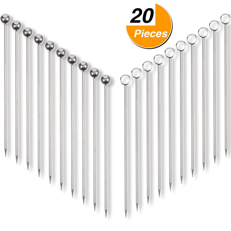 Frienda 20 Pieces Stainless Steel Cocktail Picks Fruit Sticks 4.3 Inch, 2 Styles