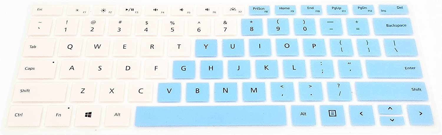 Incarnadine and Blue CONVAY Ultra Thin Keyboard Cover Silicone Skin for Microsoft New Surface Pro Type Cover Keyboard