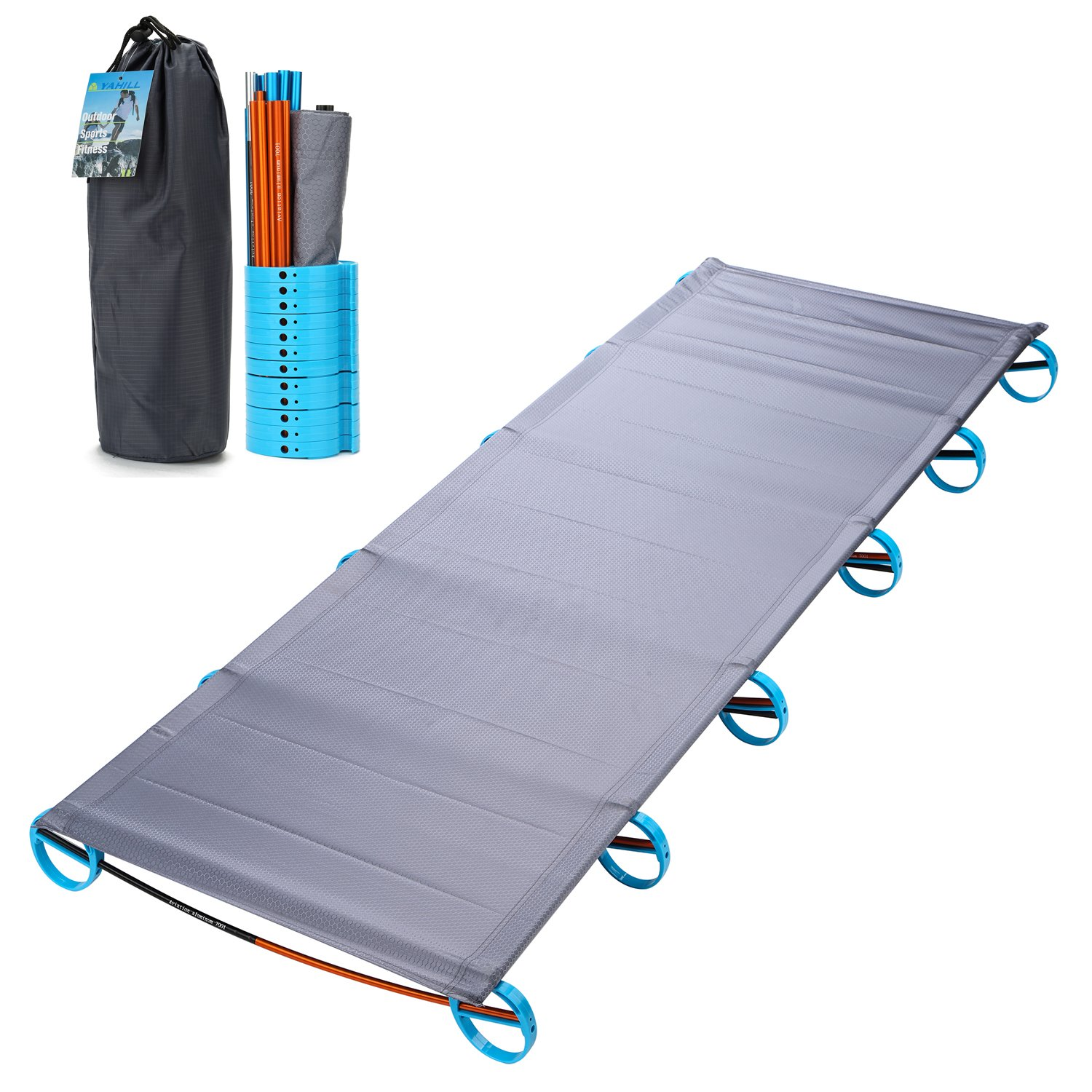 YAHILL Ultralight Folding Camping Cot Sleeping Collapsible Portable Foldable Bed Aluminum Replacements for Tent Backpack, Adults Youth Outdoor Travel Hiking Fishing Hunting (Grey -1st Generation)