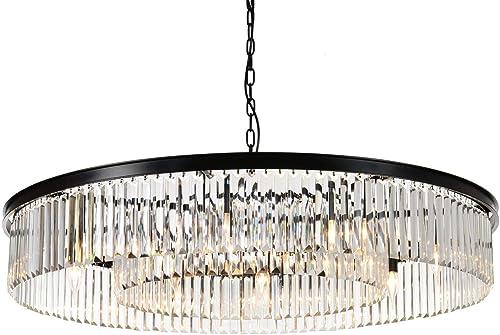 MEEROSEE Crystal Chandeliers Modern Chandelier Island Lighting 12 Lights Raindrop Pendant Ceiling Light Fixture