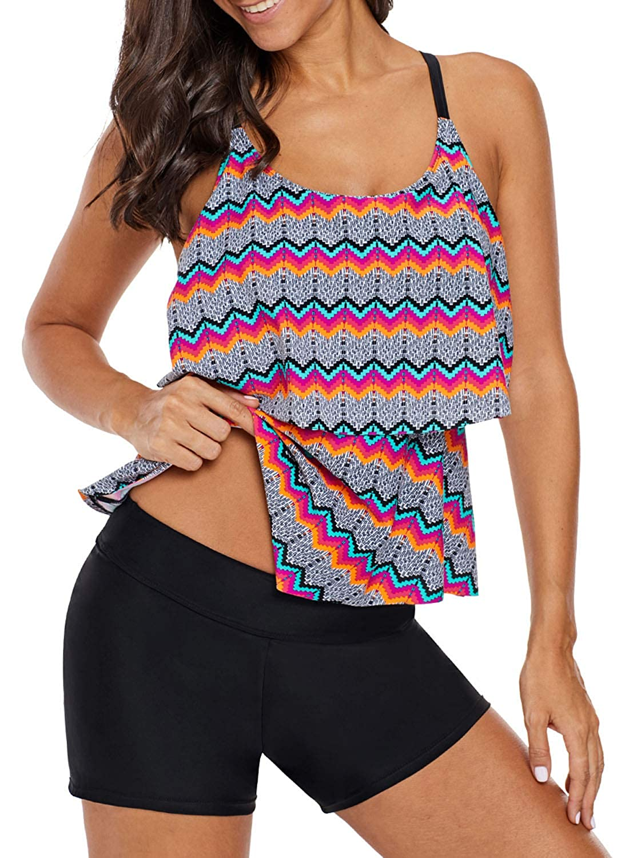 Multicolor sidefeel Women Tribal Print Ruffled Layered Strap Tankini Top