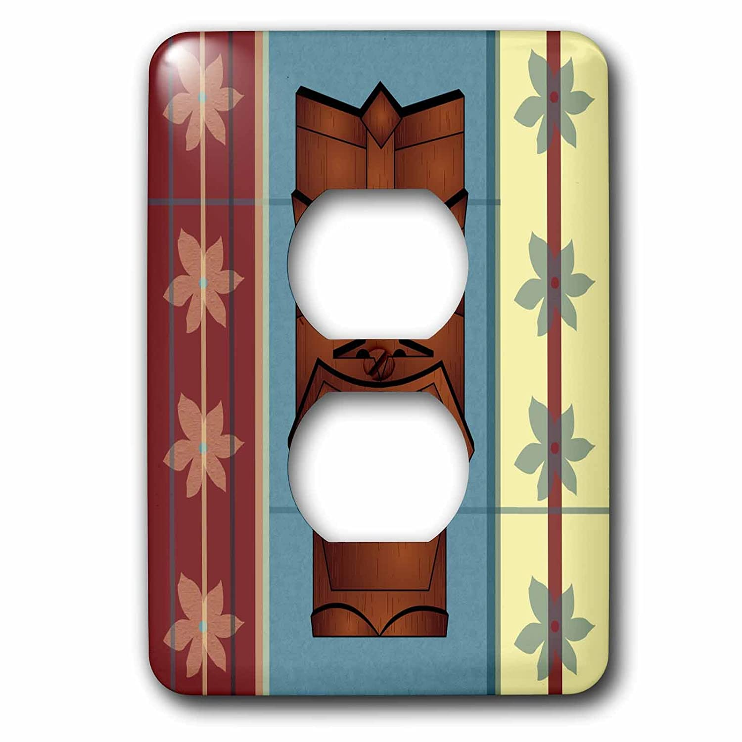 3dRose lsp/_77491/_6 Wood grain Tropical Tiki Mask Plug Outlet Cover Multicoloured
