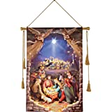 Lighted Nativity Scene Hanging Canvas Wall Art, Inspirational Christmas Decorations