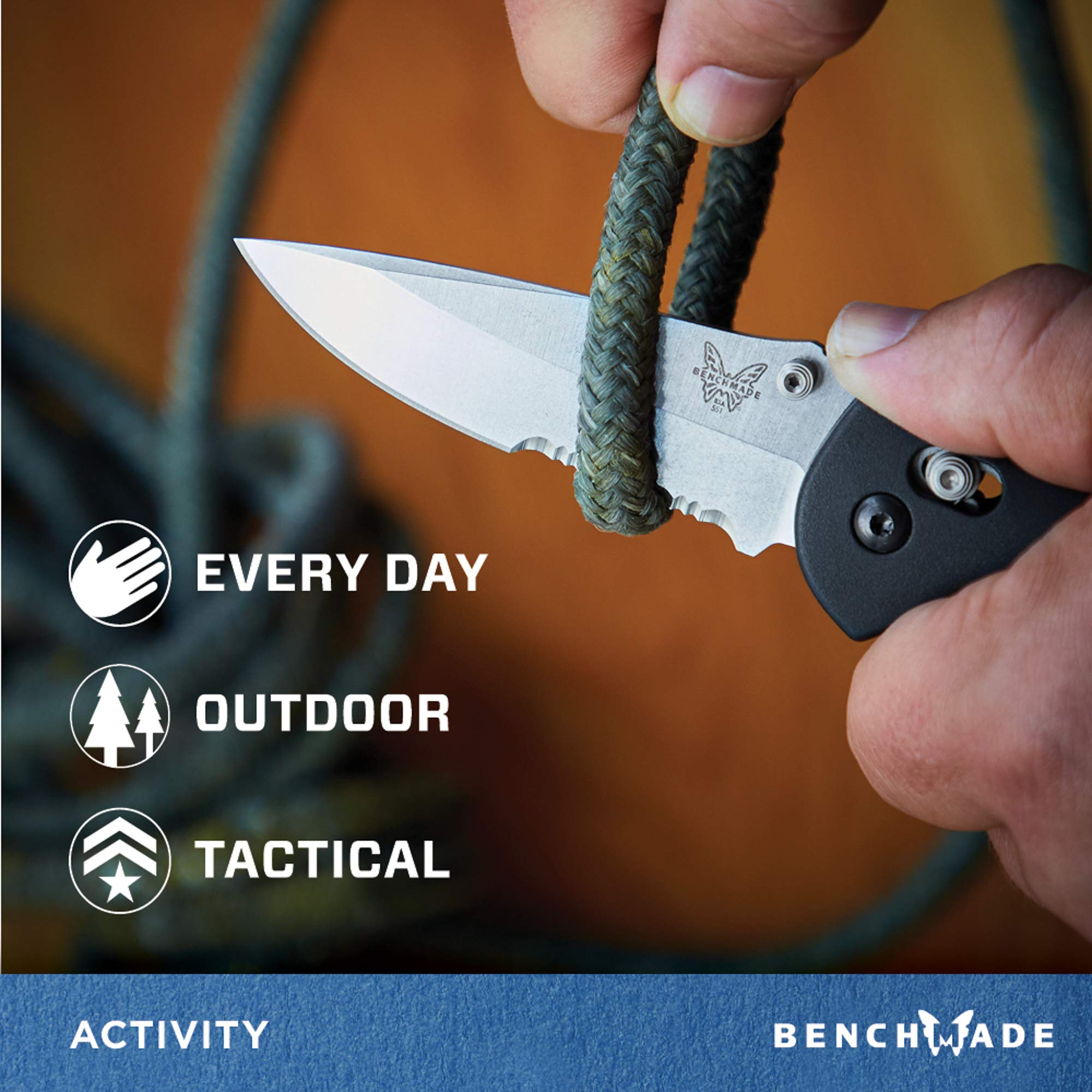 Benchmade - Griptilian 551 Knife with CPM-S30V Steel, Drop-Point Blade, Serrated Edge, Satin Finish, Black Handle by Benchmade (Image #4)