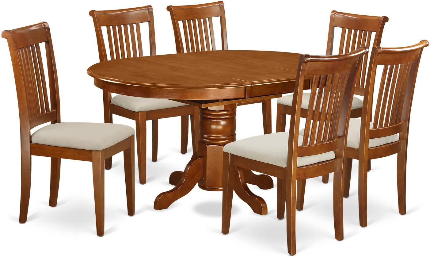AVPO7-SBR-C 7 Pc set Avon Kitchen Table with Leaf and 6Upholstered Dinette Chairs in Saddle Brown
