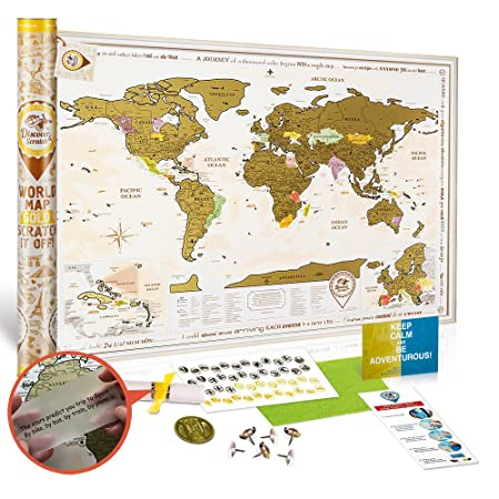 New World Map With Scratch Off Gold Edition Large Size 88x62 Cm
