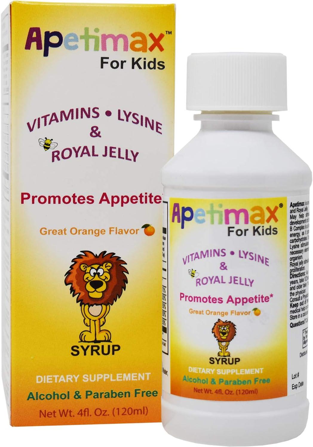 Apetimax for Kids Vitamins Lysine Royal Jelly 4 oz