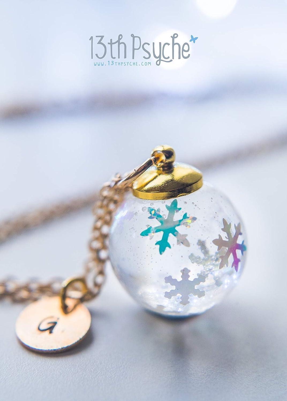Schneeflockenkugel Halskette, erste Scheibe Halskette, personalisierte Schmuck, Harz Kugel Halskette, Schnee Halskette, Winter Schmuck, Weihnachtsgeschenk fü r Sie.