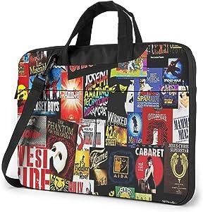 15.6 Inch Waterproof Laptop Shoulder Bag Lightweight Slim Notebook Sleeve Case Broadway Collage Musical Messenger Briefcase with Strap for Men Women