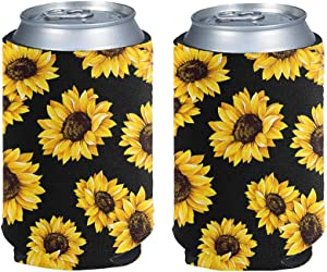 Coloranimal Yellow Sunflower Can Cooler Sleeve for Energy Drink Beer Skinny Insulated Sleeve Decorative Warmer Drink Cans Thermocooler Flower Printed L
