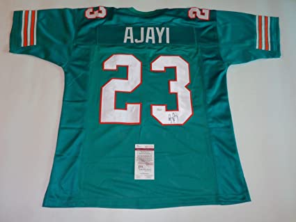 35c0780f JAY AJAYI autographed signed Dolphins teal throwback Jersey JSA ...