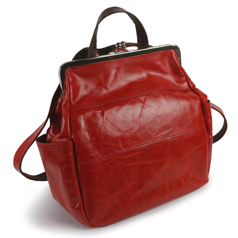 [パッカパッカ]バッグ リュック ショルダー 2WAY がま口 軽い 柔らかい 日本製 本革 馬革 鞄 丸型 女性 大人 キュート 大容量 軽量 paccapacca B07BF72V3J レッド