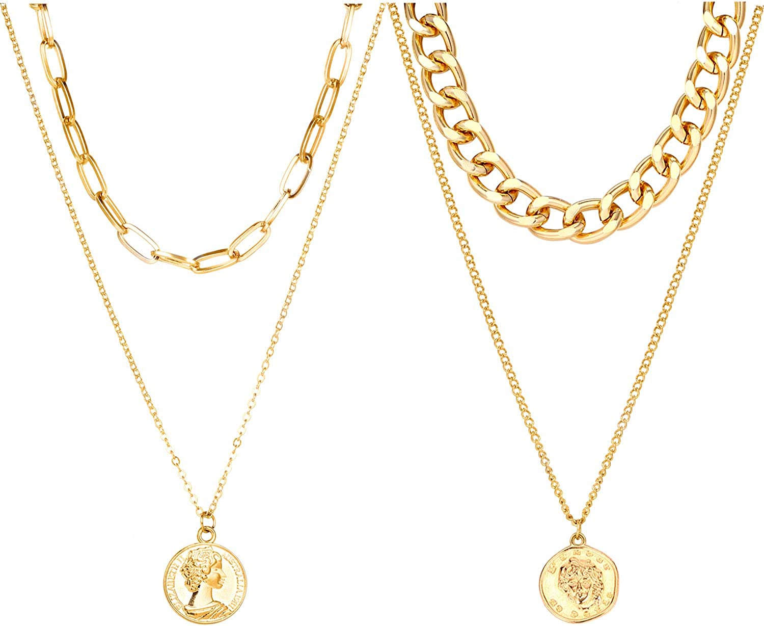 2 PCS Layered Necklace Gold Coin Pendant Link Chain With Paperclip Choker Vintage for Women Men