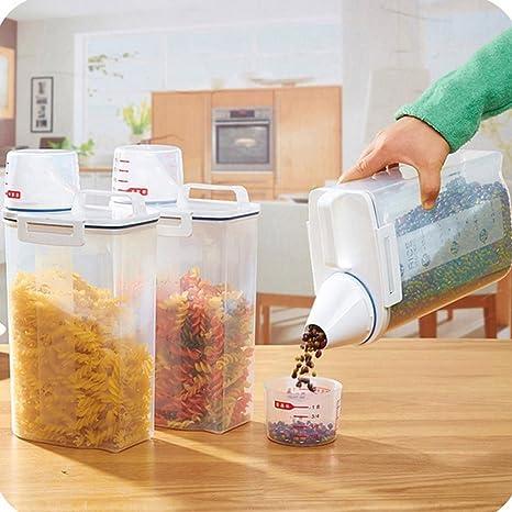 hunpta 2L dispensador de cereales de plástico caja de almacenaje cocina alimentos cereales arroz comida Niza