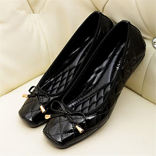 92dcfe2de Beverly Stewart Patent Leather Flat Women Ballet Flats Shoes Women Plus  Size 41 Black Square Toe Bowtie Shoes Black for Lady: Amazon.ca: Shoes &  Handbags